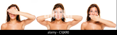 beautiful brunette woman making no see, no hear, no say - evil gestures on white background - Stock Photo