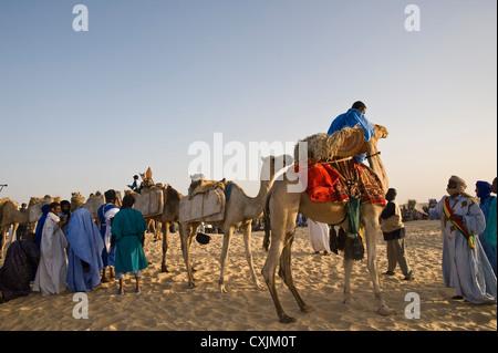 Touareg nomads and camels carrying salt tablets; Sahara Desert - Stock Photo