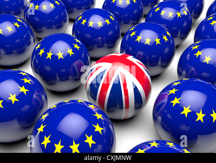 Close up of many balls with the European Flag and one ball with the United Kingdom's Union Flag - Concept image - Stock Photo