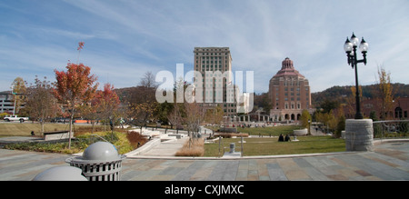 downtown Asheville North Carolina Pack Square park with open space and fall landscape - Stock Photo