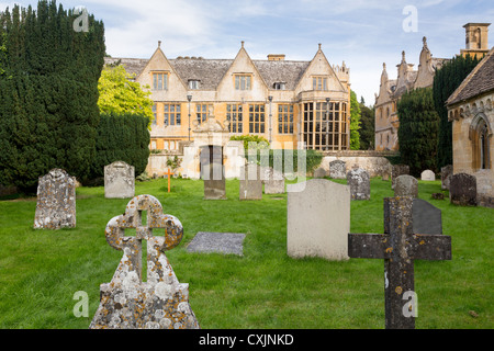 Stanway House and St Peters Church near Stanton in Cotswolds Gloucestershire England - Stock Photo
