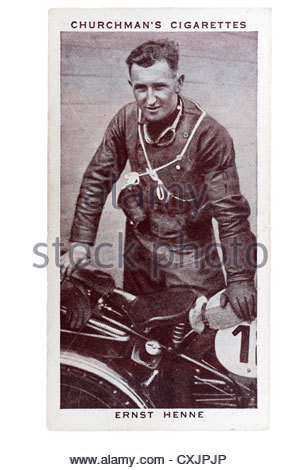 Churchman Kings of Speed Series cigarette card from 1939:   Ernst Henne, Bavarian motor cyclist.  Editorial Only - Stock Photo