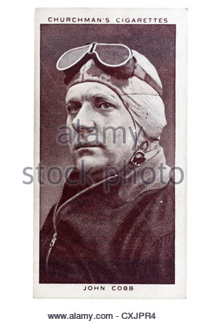 Churchman Kings of Speed Series cigarette card from 1939:    John Cobb, racing car driver.  Editorial Only - Stock Photo