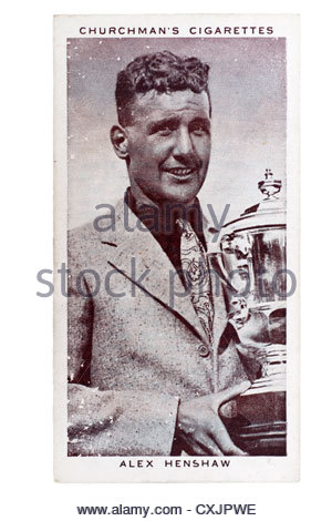 Churchman Kings of Speed Series cigarette card from 1939:  Alex Henshaw , English pilot.  Editorial Only - Stock Photo
