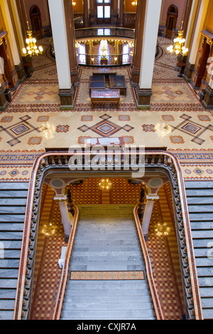 Beautiful staircase and tile work leading to rotunda lobby inside the Iowa state capitol building or statehouse - Stock Photo