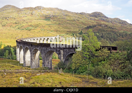 The famous Glenfinnan viaduct near Fort William in Highland Scotland viewed from north east - Stock Photo