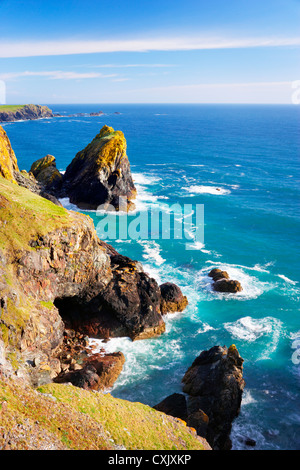 Sea stacks and Cliffs at Kynance Cove, Lizard Peninsula, Cornwall, England - Stock Photo