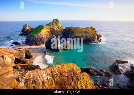 Sea Stacks and Tidal Island at Kynance Cove, Lizard Peninsula, Cornwall, England - Stock Photo