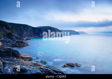 Cliffs and Rocky Coastline, Church Cove, Lizard Peninsula, Cornwall, England - Stock Photo