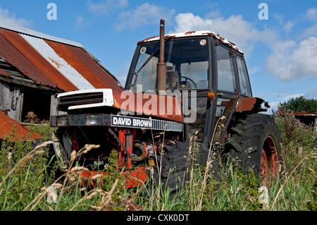 Rusty David Brown tractor England UK United Kingdom GB Great Britain - Stock Photo