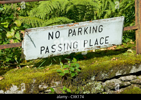 No parking passing place sign England UK United Kingdom GB Great Britain - Stock Photo