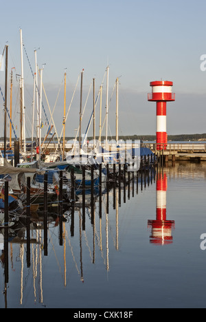 Port and lighthouse Eckernfoerde - Stock Photo