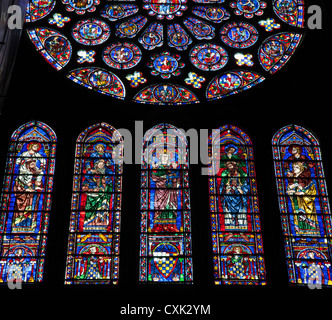 Stained glass window in Chartres Cathedral, Chartres, Loire, France - Stock Photo