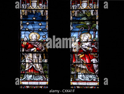 Stained glass windows of Christ Church Cathedral, built 1892, Stanley, Falkland Islands - Stock Photo