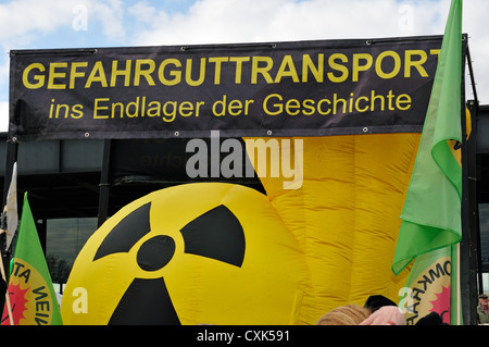 Protest against nuclear energy in Berlin - Stock Photo