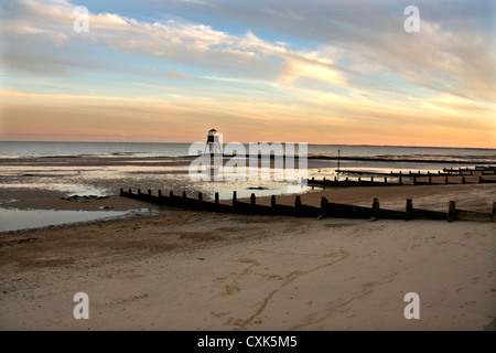 Dovercourt victorian lighthouse in sunset, Harwich, Sussex, England UK - Stock Photo