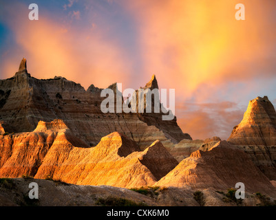 Eroded rock formations in Badlands National Park, South Dakota. - Stock Photo