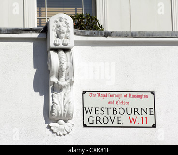 Architectural detail Westbourne Grove Notting Hill London W11 - Stock Photo
