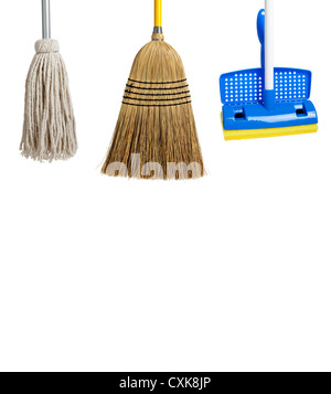 Blue and yellow sponge mop, broom and string mop on a white background - Stock Photo