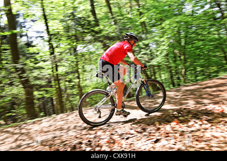 Senior with Mountain Bike Fahrrad - Stock Photo