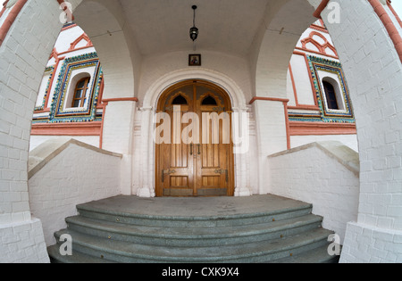 Old wooden gate in Valday monastery in Russia - Stock Photo
