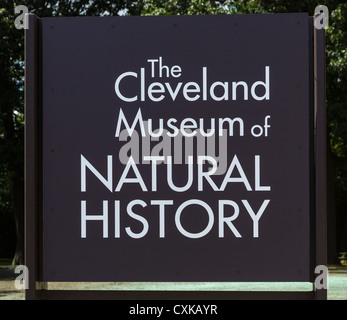Sign outside Cleveland Museum of Natural History, University Circle district, Ohio, USA - Stock Photo