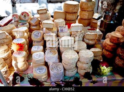 CHEESE STALL,AJACCIO MARKET,CORSICA - Stock Photo