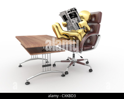 Man reading newspaper in office. - Stock Photo