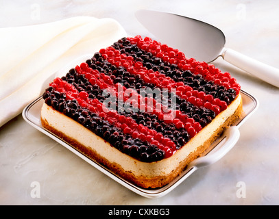BLUEBERRY AND REDCURRANT CHEEESECAKE - Stock Photo