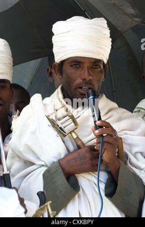 Elk200-2229v Ethiopia, Gondar, priest - Stock Photo