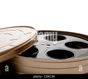 Film reel canister on a white background - Stock Photo