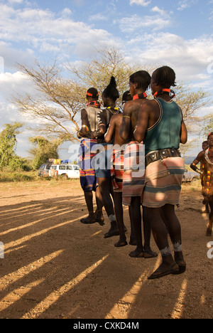 Elk200-5478v Ethiopia, Omo Valley, Hamer tribe, men's jump dance - Stock Photo