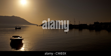 Harbour view at dusk, Budva, Montenegro - Stock Photo