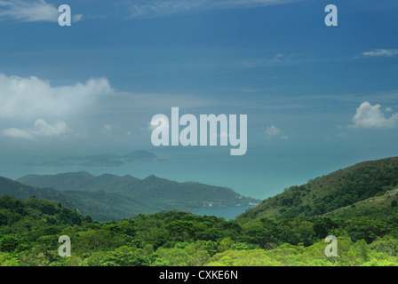 Southerly view from Ngong Ping across Lantau Country Park towards the Soko Islands in the South China Sea. - Stock Photo