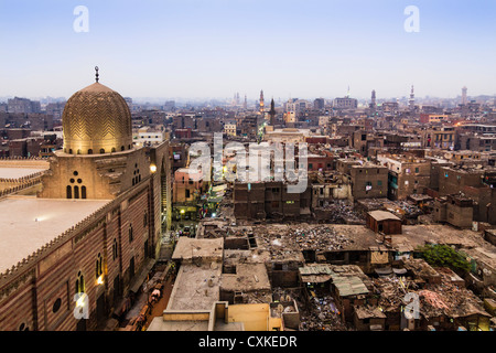 Overview of Islamic Cairo with Mosque of Sultan al-Muayyad and derelict roof buildings. Cairo, Egypt - Stock Photo