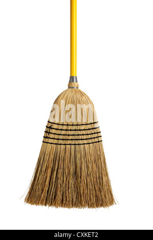 Straw broom on a white background - Stock Photo