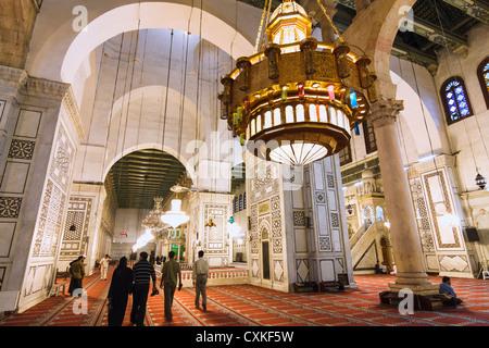 Interior of Umayyad Mosque Damascus Syria - Stock Photo