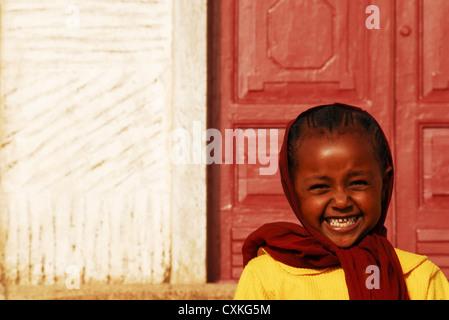 Eritrea, Asmara, close-up portrait of an African girl - Stock Photo