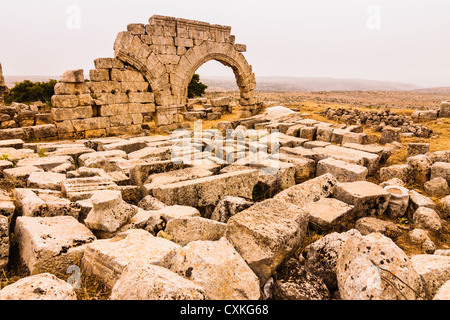 Qalaat Samaan: Ruins of the Church of Saint Simeon Stylite near Aleppo, Syria - Stock Photo