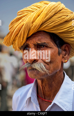 Turbans worn in Rajasthan signify the ancestral profession of the family by the way in which it is tied. Rajasthan, - Stock Photo