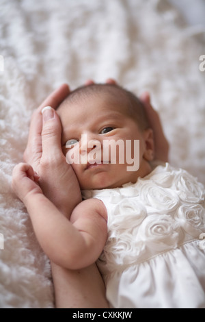 infant being held in her mother's hands - Stock Photo