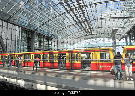 Bahn Berlin train in Hauptbanhof Berlin Germany - Stock Photo