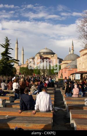 tourists infront of hagia sofia church or saint sofia church in istanbul,turkey - Stock Photo
