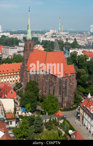 Church of Holy Cross and St. Bartholomew, Tumski Ostrów (Island), Wroclaw, Poland - Stock Photo