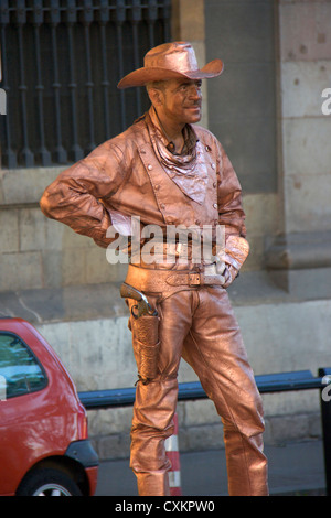 human statue street performer in las ramblas street in barcelona.spain,europe - Stock Photo