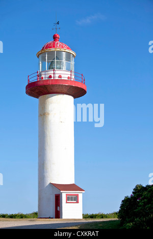 Cape Madeleine Lighthouse is located in Madeleine Centre on the Gaspe Pennisula in the province of Quebec, Canada. - Stock Photo