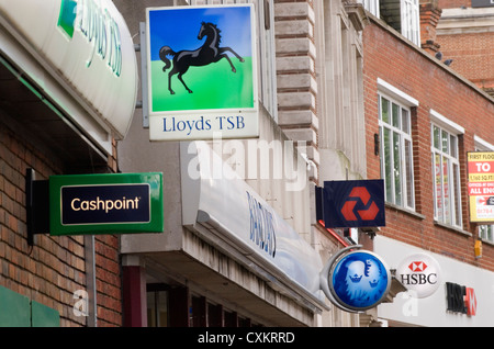 High Street Banks signs London UK HOMER SYKES - Stock Photo