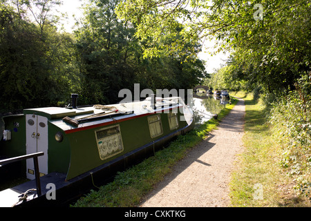 Narrowboats on the Grand Union Canal, Warwickshire, UK, England, GB, British, English, inland, waterways, canals, - Stock Photo