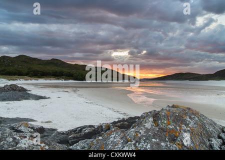 Silver sands of Morar summer sunset - Stock Photo