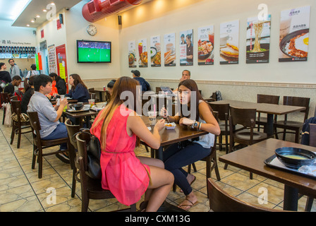 New York, NY, USA, People Sharing Meals inside Chinese Style Fast Food Restaurant, 'Hong Kong Station' in Chinatown, - Stock Photo